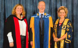 Brian Ellison at the ceremony to recieve his Honoroary Doctorate with Dr Helen Fraser (left) and Baroness Lane-Fox (right).