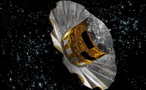 Artist's impression of the Gaia spacecraft. It looks like a gold cylinder with a silver corrugated dish shape below.