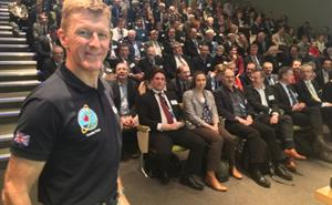 Astronaut Tim Peake attending a RAL Space conference