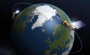 Artist's impression of the MetOp-SG satellite orbiting the Earth