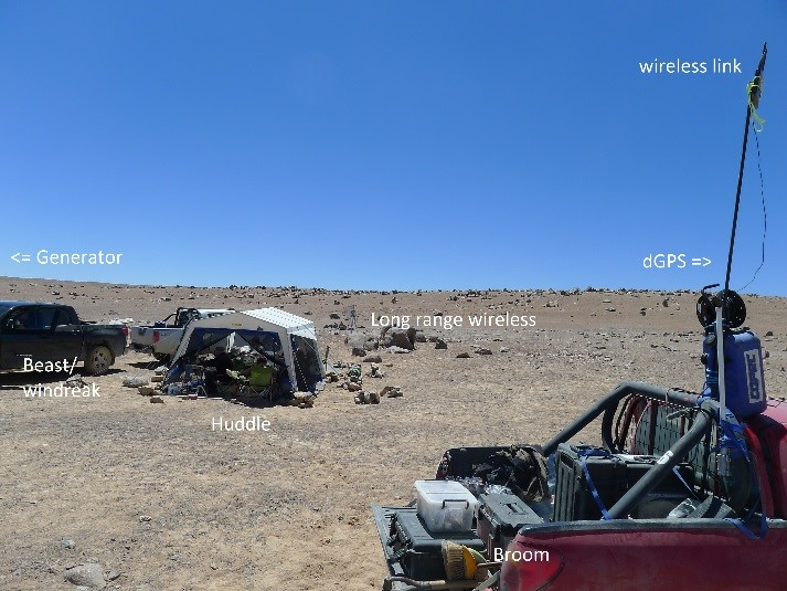 Some of the ground support equipment during the SAFER field trail in the Atacama desert.