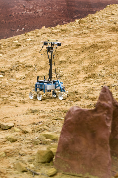 Robotic rover (indie) being tested on the simulated martian landscape at STFC's Rutherford Appleton Laboratory