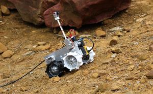 University of Surrey's winning rover in the RAL Space robotic trails area. Credit: Thales Alenia Space in the UK