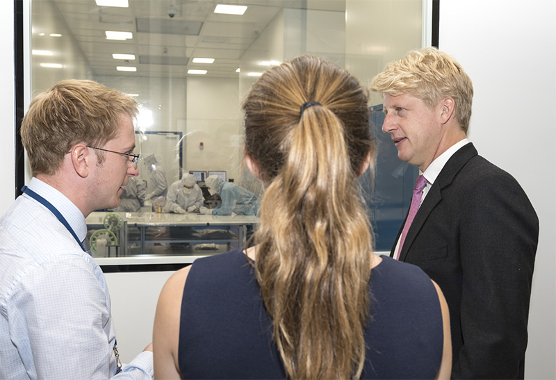 Universities and Science Minister Jo Johnson visiting STFC RAL space's R100 facility.jpg