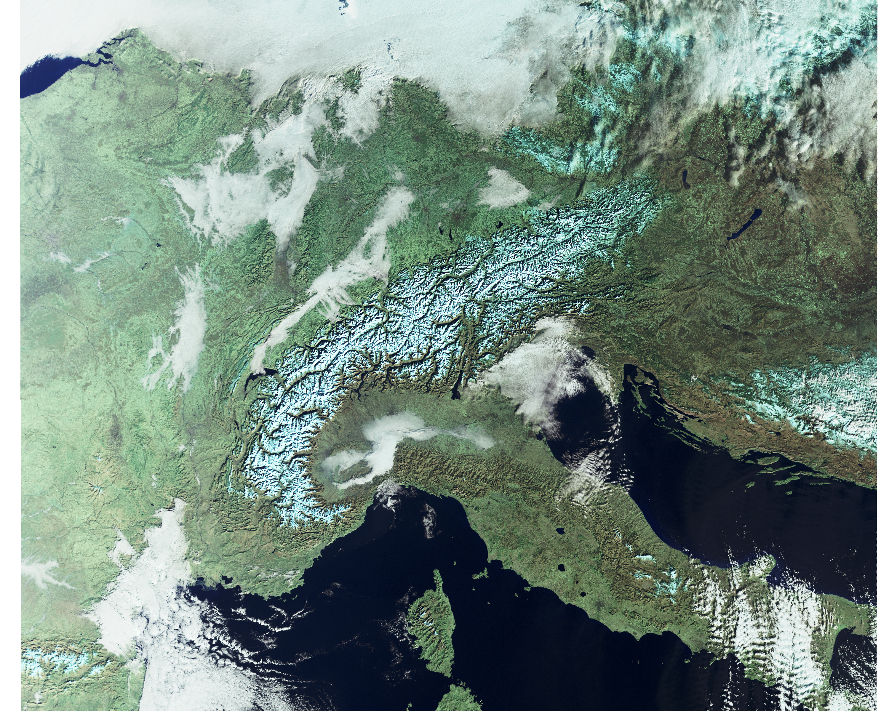 Sentinel-3 image of the Alps showing both snow and clouds