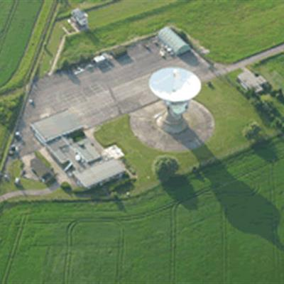 Aerial view of the Chilbolton Observatory site with 25 m dish.