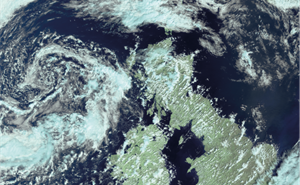 Satellite image of the UK in summer